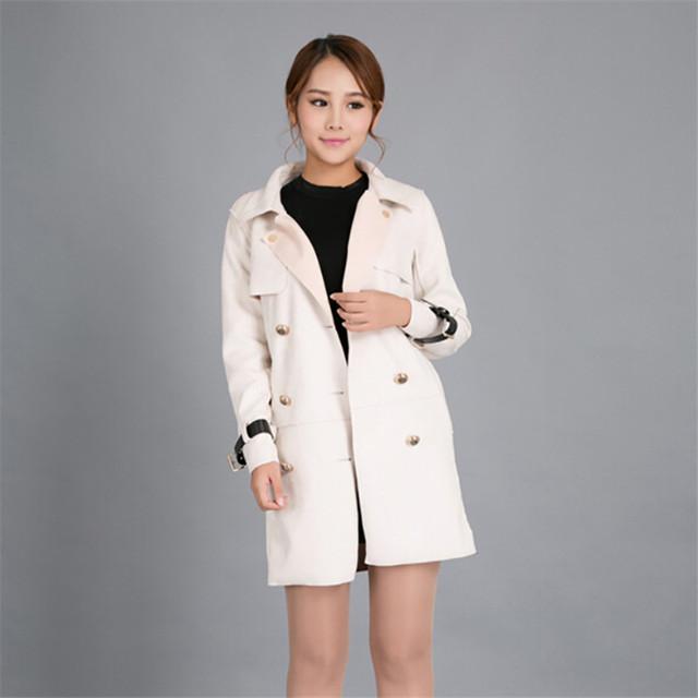 Queda & winter blusão feminino roupas casaco Fino temperamento longa seção era magro jaqueta de camurça fina
