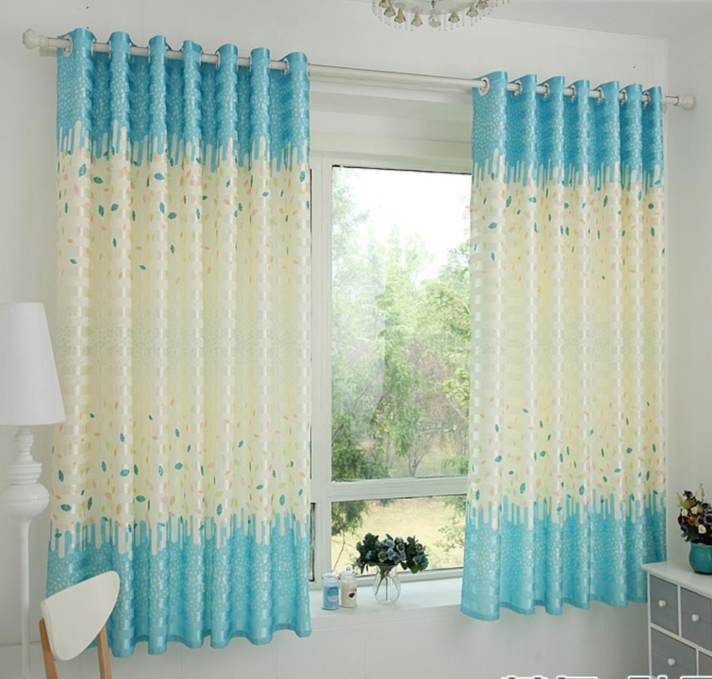 Blue bedroom window curtains - Free Shipping 2 Meters High Blue Leaves The Curtain Cloth Finished Short Wave Window Curtain And Shading The Bedroom Balcony