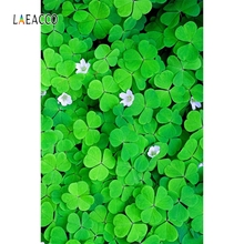 Laeacco Green Four-leaf Clover Backdrop Baby Portrait Photography Background Customized Photographic Backdrops For Photo Studio