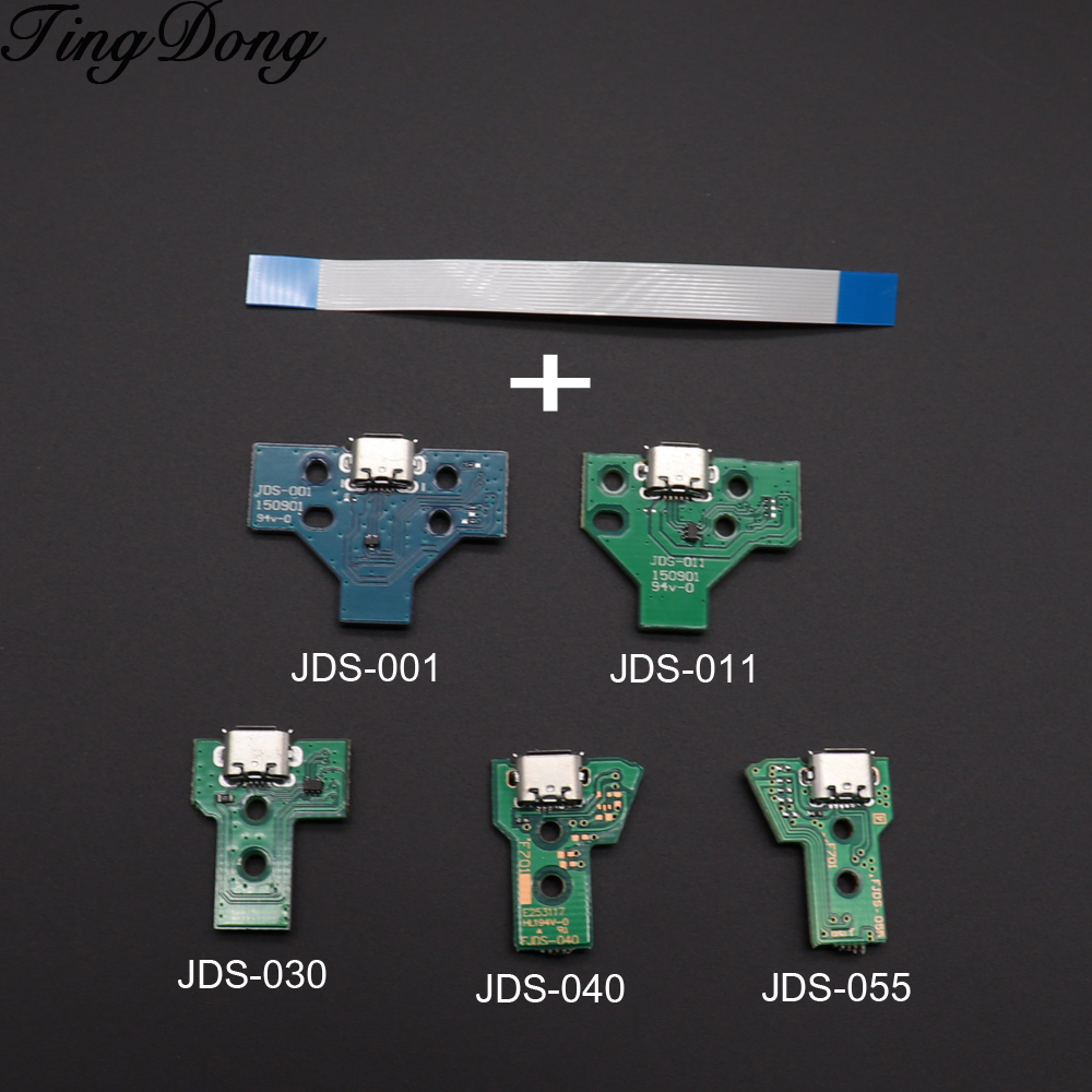 TingDong For PS4 Controller USB Charging Port Socket Circuit Board 12Pin JDS 011 030 040 055 14Pin 001 Connector