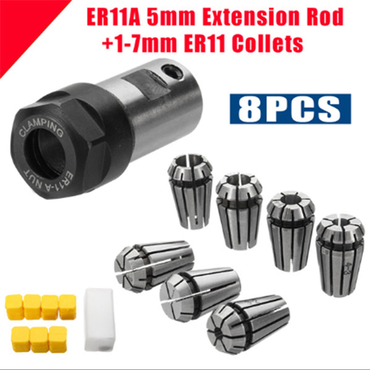 7Pcs Carbon <font><b>steel</b></font> ER11 1/2/3/4/5/6/<font><b>7mm</b></font> Spring Collets with ER11A 5mm Motor Shaft Holder CNC Machine Extension <font><b>Rod</b></font> Collet Chuck image