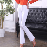 Women pants Slim spring Autumn pants Solid color Button Flare pants High waist casual pants
