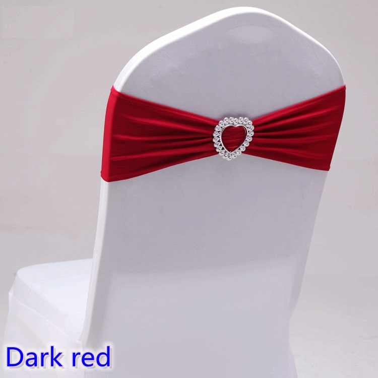 Dark Red Colour Spandex sash wedding lycra chair band stretch for chair covers decoration party dinner banquet chair sash