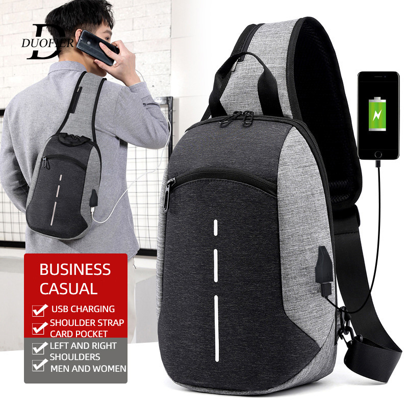 Chest-Bag Shoulder-Bag Messenger Reflective Cross-Border Usb-Charging-Bag Diagonal-Package