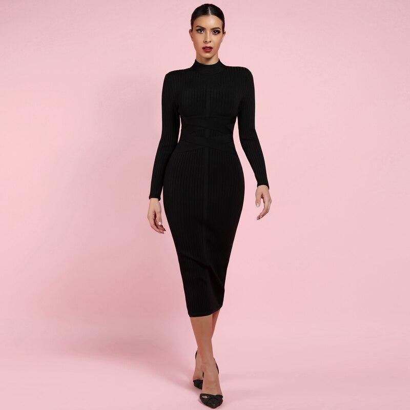 Ocstrade moulante robe 2019 nu col roulé rayonne à manches longues Bandage robe de haute qualité nervuré femmes Midi Bandage robe Sexy - 4
