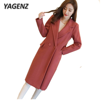 YAGENZ Winter Wool Jacket Women Clothing 2017 Fashion Elegant Slim Temperament Long Overcoat Double Breasted Solid