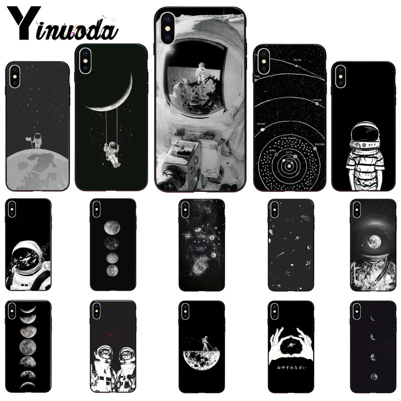 Phone Bags & Cases Cellphones & Telecommunications Rapture Yinuoda Black With White Moon Stars Space Astronaut Novelty Phone Case For Apple Iphone 8 7 6 6s Plus X Xs Max 5 5s Se Xr