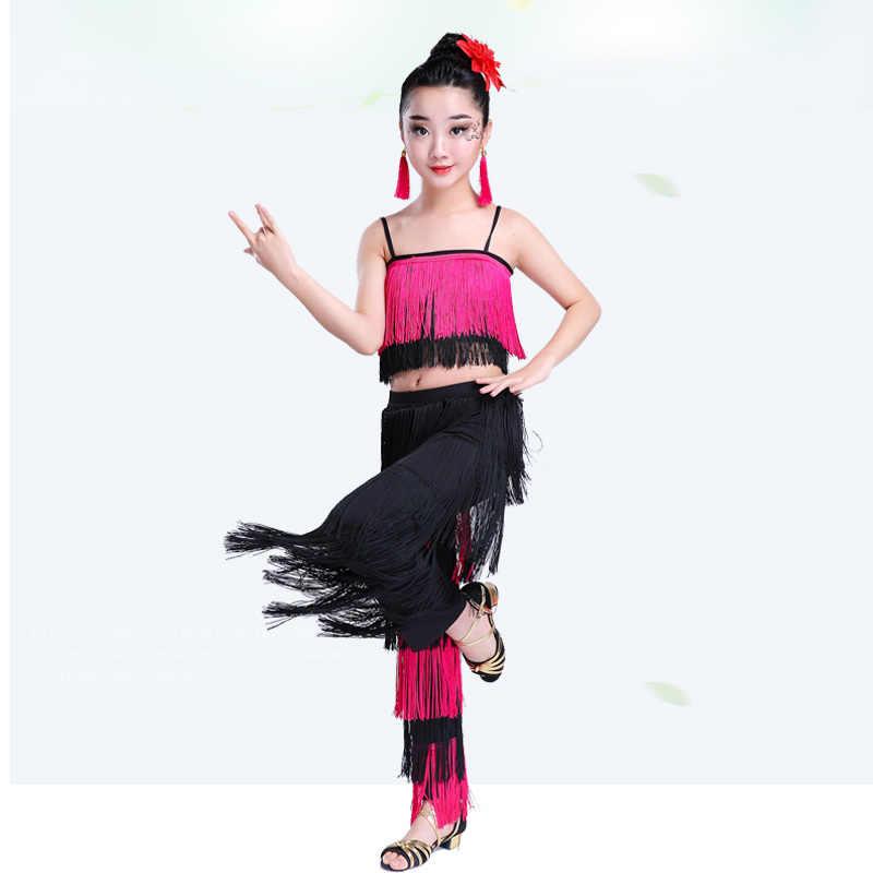 Kinder Kinder Bachata Latin Dance Kostüme Mädchen Ballsaal Tango Salsa Latin Dance Wettbewerb Kostüm Fringe Hosen Tops Quaste