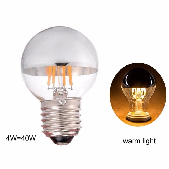 10pcs Lot G45 Edison Style Led Bulb 4w Silver Tipped Filament 40 Watt Equivalent E27 Candelabra Lamp Warm Light 2700k