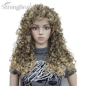 Image 4 - Perruque synthétique bouclée Blonde brune noire, perruque de Cosplay longue pour femmes