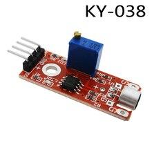 100 pcs KY 038 4pin Mini Voice Suono Sensore di Rilevamento del Modulo Trasmettitore del Microfono