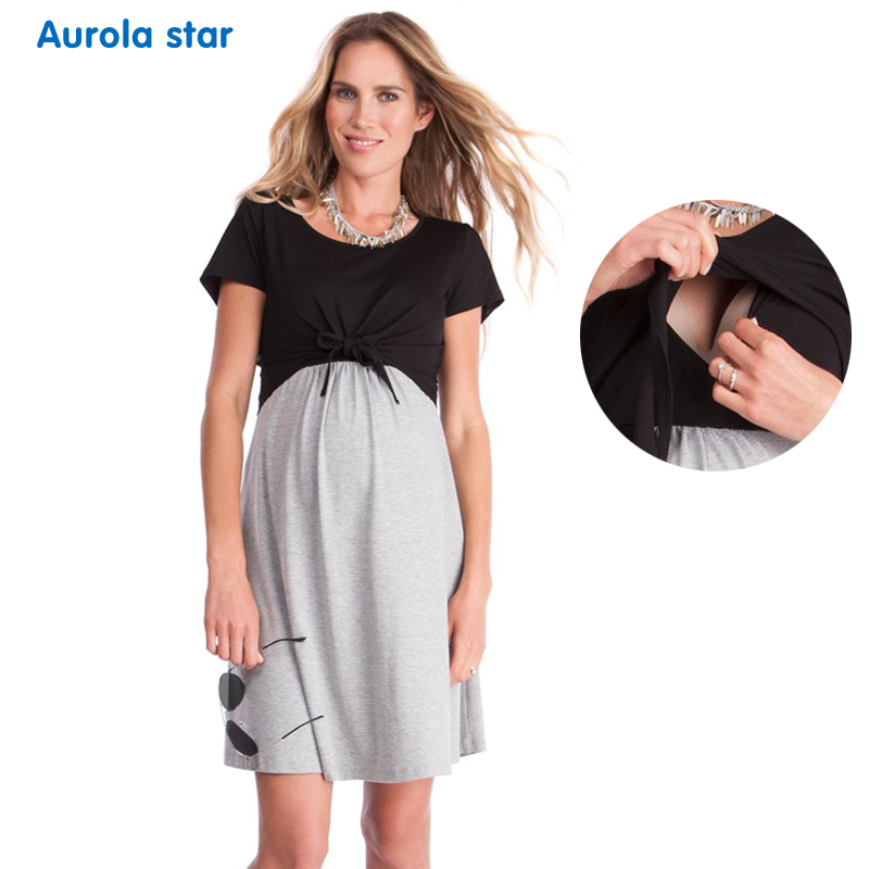 Maternity Nursing Dress Breastfeeding Maternity Clothes Pregnant Baby shower Party Dresses For Pregnant Clothes Women Summer