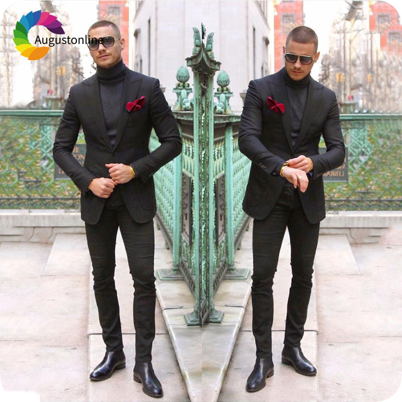 Formal Business Black Men Suits Peaked Lapel Groom Wedding Tuxedos Slim Fit Costume Homme Best Man Blazer Jacket Terno Masculino in Suits from Men 39 s Clothing