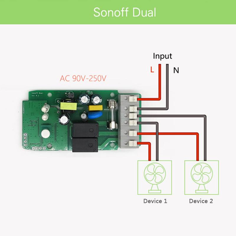 SONOFF Dual 2CH Basic Ewelink Light Remote Control WiFi Wireless Smart  Switch Works with Alexa Google Home DIY Timer Module
