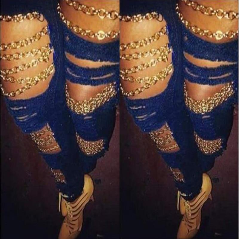 2018 zgrywanie talii kobiet dżinsy Burst kobiet dziura łańcucha moda fajne spodnie jeansowe spodnie dżinsowe Femme chłopaka dla kobiet Plus Size 1