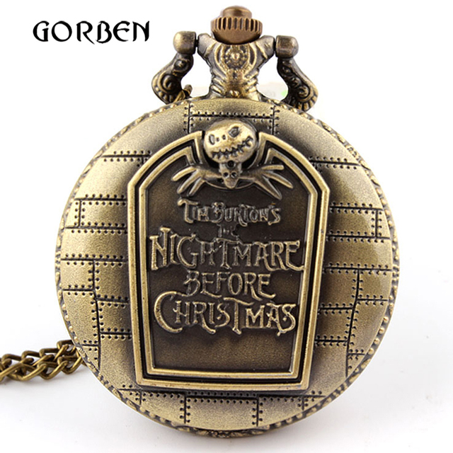 Vintage Nightmare before Christmas Quartz pocket watch with chain necklace pende