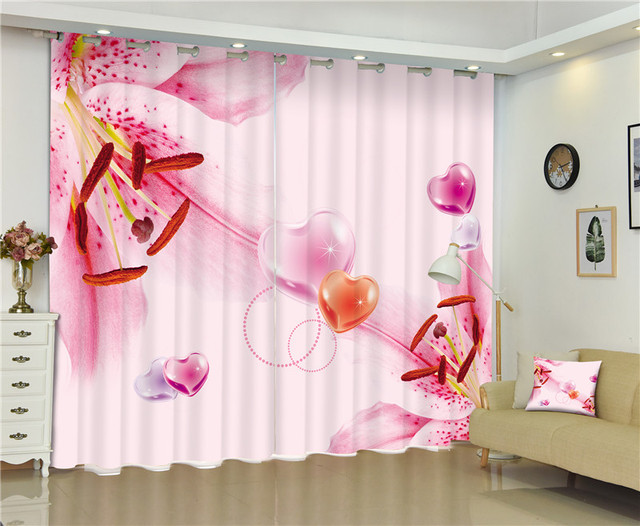 Morden Blackout Window Curtain Beautiful 3D Curtains For girls ...