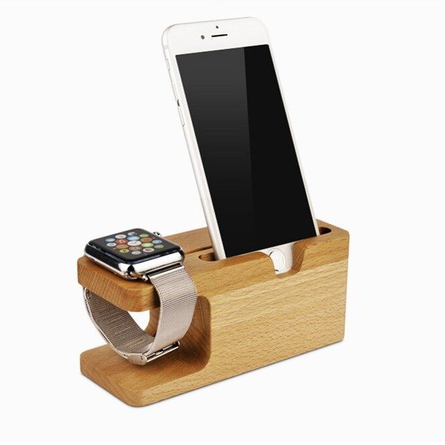YF-905 Multi-function Cellphone Holder Natural Bamboo Wood Charge Station Charging