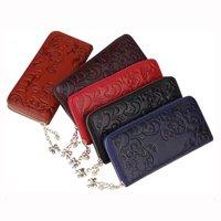2017 New Female Leather Wallets Women Zipper Purse For IPhone 7 Vintage Flower Pattern Ladies Clutch
