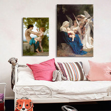 France New Classical Famous Paintings, William Adolphe Bouguereau Song of the Angels Canvas Pianting Print Wall Art Decor Poster(China)