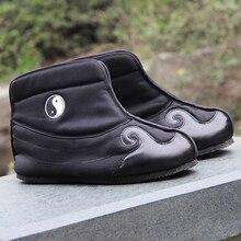 Ручной Зимние сапоги с резиновой подошвой, даосская обувь китайские традиции обувь Тай чи обувь кунг-фу обувь для ушу