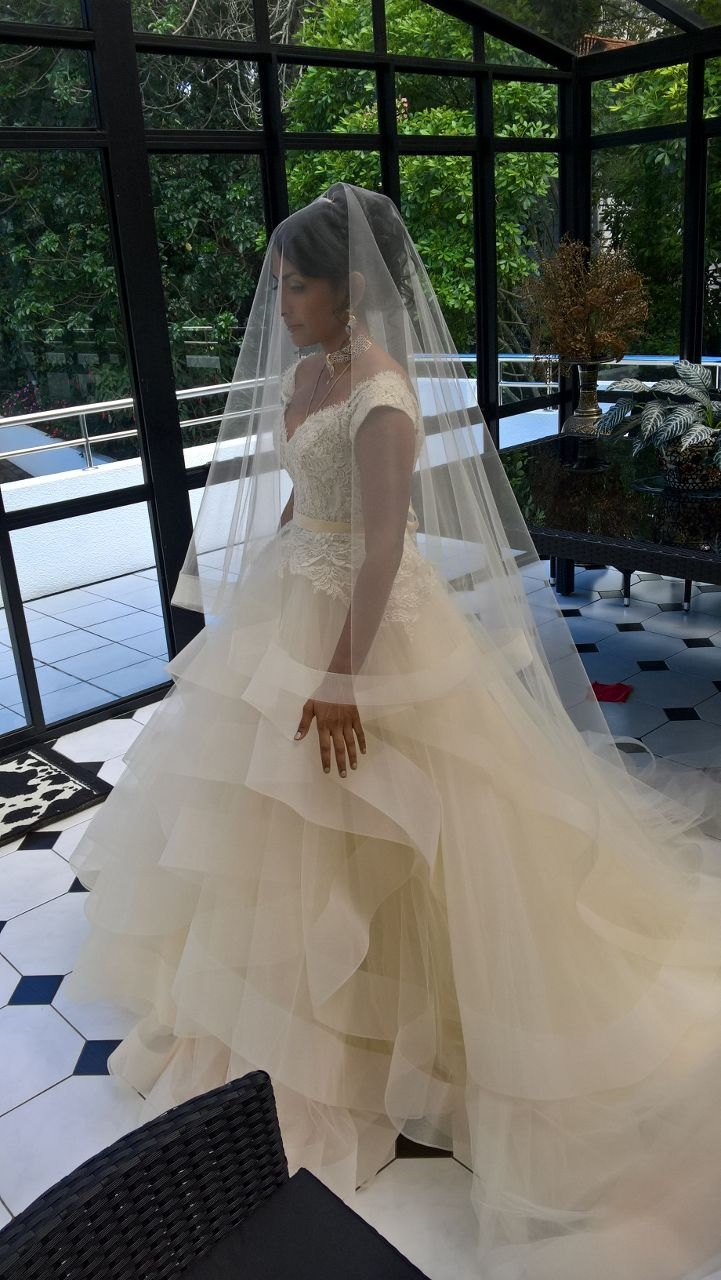Chapel Length Bridal Veil With Horsehair Trim Drop Veil 1 Layer Wedding Veil No Comb In White,ivory, Champagne