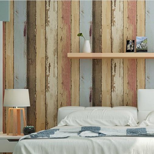 HaokHome PVC Vinyl Vintage Faux Wood Panel 3D Wallpaper Living room Bedroom Home Wall Decoration,Tan/Blue/Brown Woods Art haokhome 3d vintage faux wood panel pvc self adhesive wallpaper sticker rolls tan brown bedroom living room wall decoration
