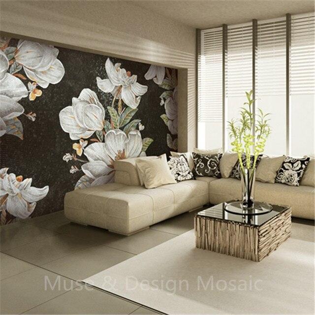 A Mano su ordinazione cut Hibiscus Fiore Murale Mosaico di Vetro ...