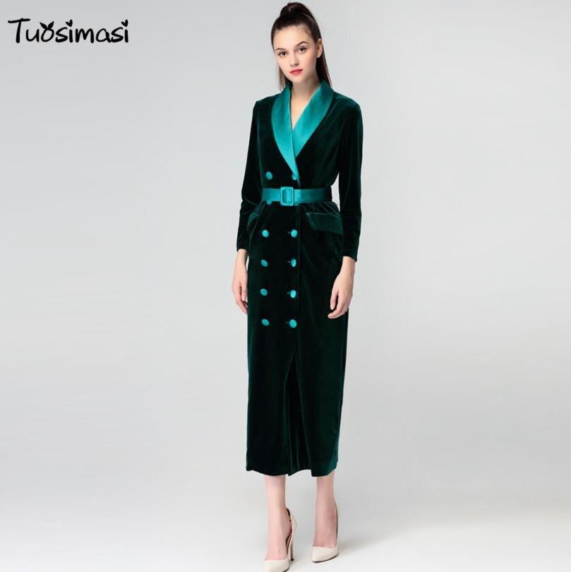 2017 jesień aksamitna v neck pełna rękawem aksamitna pas długi pokój łuszcz OL Sukienka (Ol031)