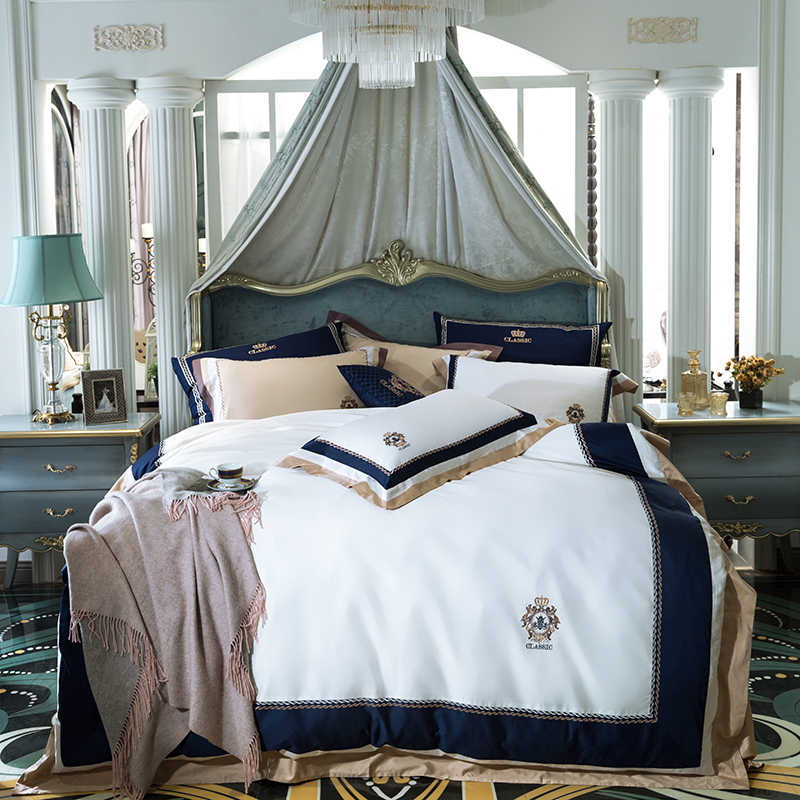 Luxury Egypt Cotton Blue classics Bedding Set Embroidery Silky Duvet Cover Sets Bed Sheet Pillowcases Queen