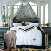 Роскошный Египетский хлопковый синий классический Комплект постельного белья с вышивкой, шелковистый пододеяльник, комплекты постельного