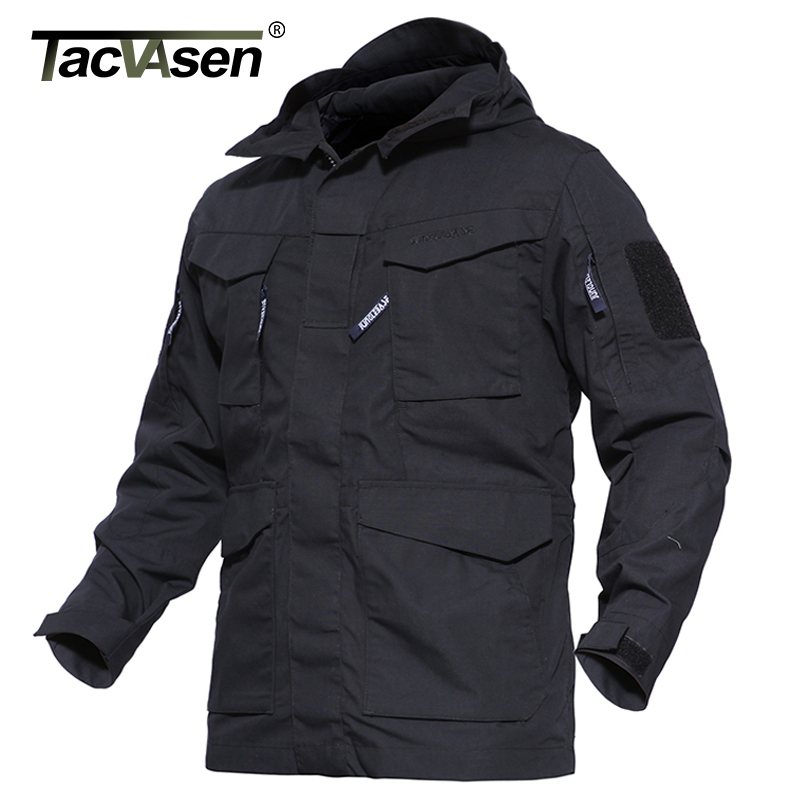 TACVASEN Army Camouflage Jacket Military Tactical Jacket Men's Winter Windbreaker Thermal Jacket Coat Hooded Clothes TD-WHCM-007