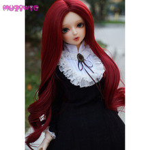 цена на MUZIWIG bjd 1/3 handmade baby doll wig High temperature fiber hair Red wine Long Wave Curly Hair for dolls wigs accessories