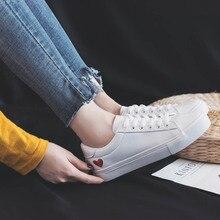 Zapatos de piel sintética planos para mujer, zapatillas informales transpirables con corazones, color blanco