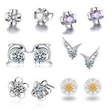 7671cf3e86d6 Delfín de La Flor Margarita plata 925 Stud pendientes cúbicos Zirconia  cristal pendientes joyería del precio