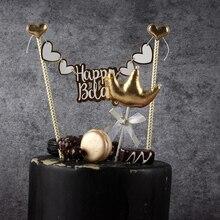 Dulce corona bowknot swan Topper para tarta de feliz cumpleaños Decoración de Pastel fiesta de bienvenida para el futuro bebé niños fiesta de cumpleaños boda favor suministros