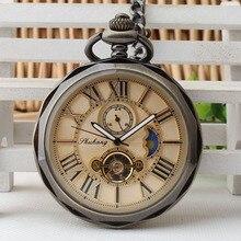 Винтажные карманные часы с открытым лицом и римскими цифрами, механические часы с цепочкой для мужчин и женщин, подарки на день рождения, PJX1398