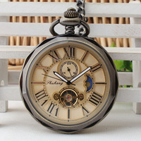 Vintage Open Face Roman Numbers Pocket Watch Mechanical Fob Clock Chain For Men Women Birthday Gifts