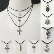 Vintage Punk Silver Color Necklace Unique Hollow Alloy Pendant Necklace For Man Women Trendy Neck Accessories Fashion Jewelry