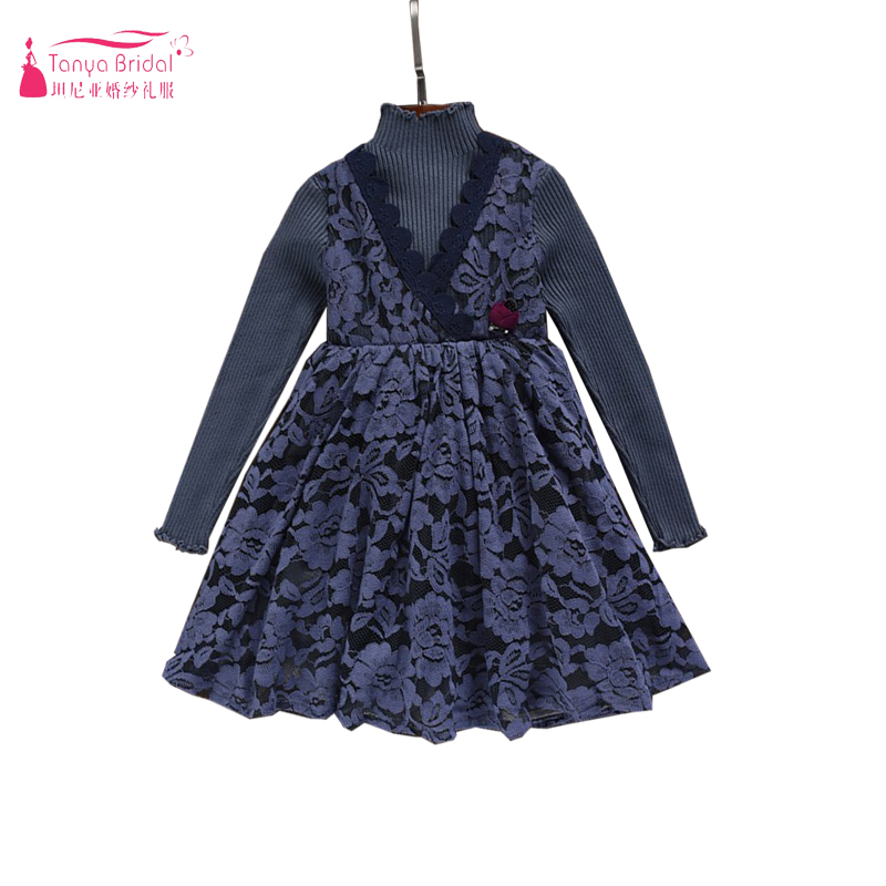 Dark Navy Long Sleeve   Flower     Girls     Dresses   Two Tone High Neck Spring Fall   Girls   Pagaent Gowns Party   dress   Casual wear ZF056