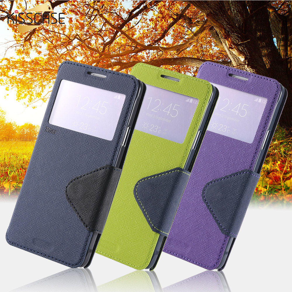 KISSCASE For Samsung Galaxy Note 4 Case Open WindowView Display Flip Leather Coque For Samsung Note 4 Capa Card Slot...  samsung note 4 case | Top 5 Samsung Galaxy Note 4 Cases KISSCASE For font b Samsung b font Galaxy font b Note b font font b 4