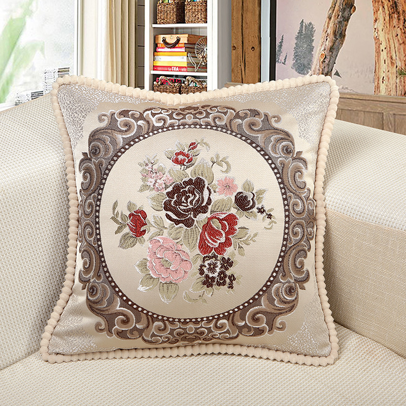 European-style living room Cushion Cover The embroide <font><b>Pillow</b></font> <font><b>Cases</b></font> <font><b>50X50cm</b></font> Bedroom Sofa Pillowcase Home Decor Christmas gift image