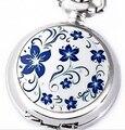 Горячие Продажи Свет Цветок Маленький белый Стали Карманные Часы Ожерелье Для Рождественский Подарок Ожерелье B124