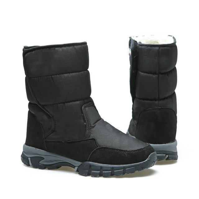 2018 รองเท้าบุรุษสีดำฤดูหนาวรองเท้าชาย snowboots ขนาดใหญ่ 48 ขนสัตว์ยาง strong outsole หัวเข็มขัดใหม่ man สไตล์จัดส่งฟรี
