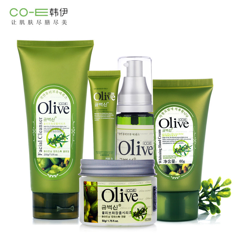 Brand 5Pcs Face Skin Care Set Kit Olive Oil Face Cream+Cleanser+Eye+Cream+Toner+Hand Cream Whitening Moisturizing Shrink Pores new package taiwan mei yan san bao 3 2 whitening cream for face skin care second generation