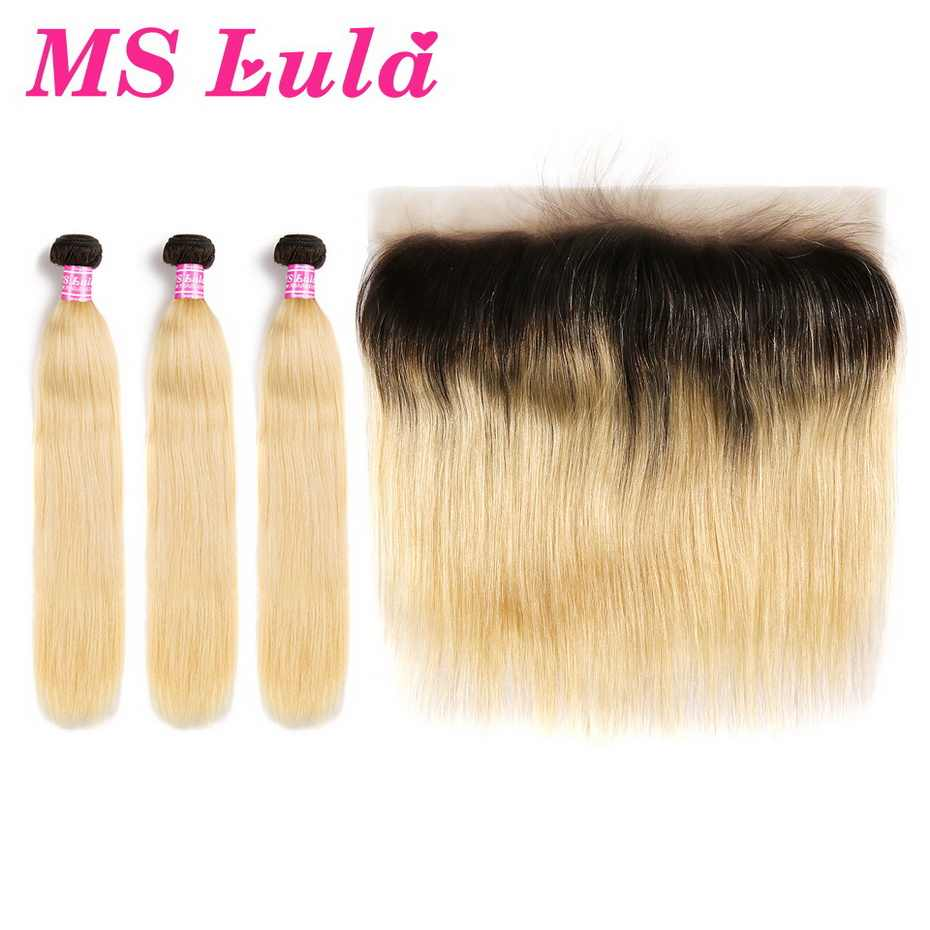 MS Lula Brazilian 1b/613 Straight Ombre Blonde Dark Roots 3 Bundles PCS With 13x4 Lace Frontal 100% Human Remy Hair Extensions