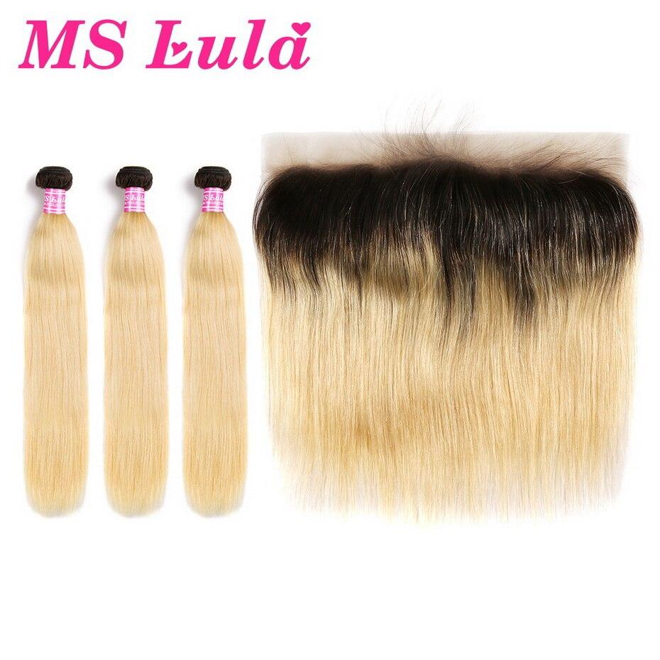 Ms lula бразильский 1b/613 прямо Ombre русый темные корни 3 Связки шт с 13x4 кружева фронтальной 100% человека Волосы remy расширения