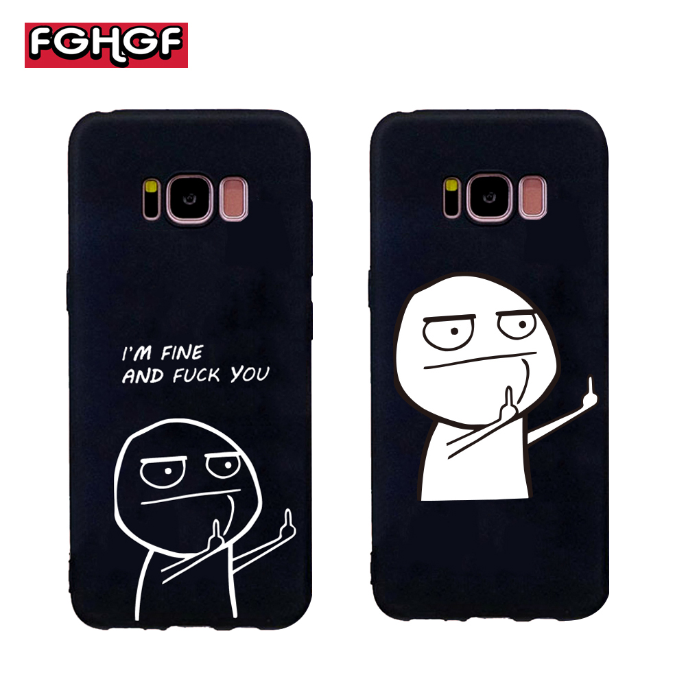 FGHGF Funny Cartoon Lovers Phone Soft Case For font b Samsung b font galaxy s6 s7
