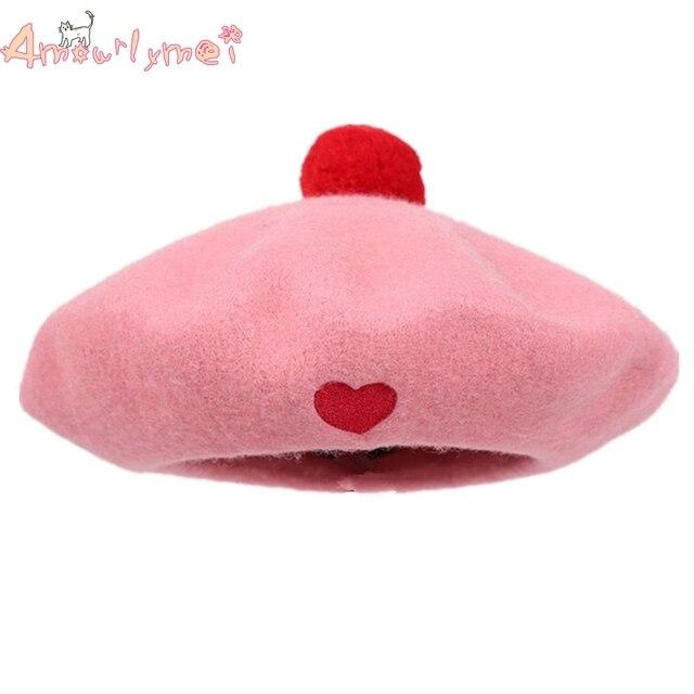 New Arrival Hot Sale Japanese Style Mori Girl Lolita Kawaii Pink Love Heart  Beret Hat Painter Beret Cap For Women Winter Hats cd924151d39