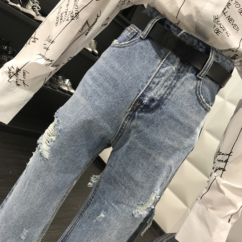 New 2019 Straight Jeans Women Denim Pants Holes Destroyed Pants Casual Trousers Oversized 100kg Stretch Ripped Jeans Plus Size 5